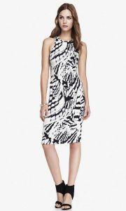 02-19-15 Stretch midi sheath dress - abstract print