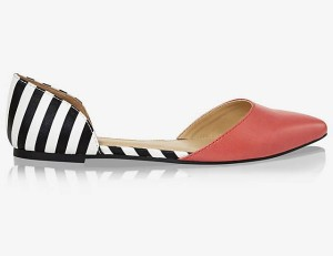 #3 Coral striped d'orsay flat Express