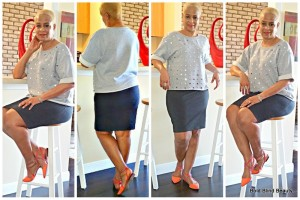 Outfit #2 - Charcoal gray pencil skirt with gray embellished sweatshirt.
