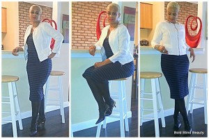 Outfit #1 - Black & Navy striped dress with white lineen jacket