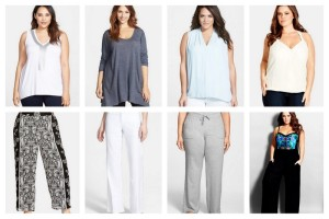 Vince Camuto Embellished V-Neck High/Low Top | Allen Allen Slub Knit V-Neck Tunic | Vince Camuto Pleat Front V-Neck Sleeveless Blouse | City Chic Wrap Front Bubble Hem Top | City Chic 'Pacific' Print Palazzo Pants | NYDJ 'Wylie' Stretch Linen Trousers | Hard Tail Slouchy Knit Cargo Pants | City Chic Smocked Palazzo Pants