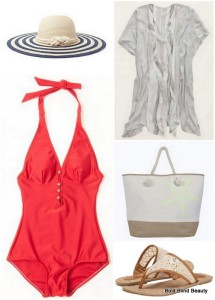 Collage: Striped Floppy Straw Hat, Aerie Striped Shawl, Ellie Starfish Beach Bag, Fannie Rocket Dog Sandals, Summer at the Shore One-Piece Swimsuit in Red
