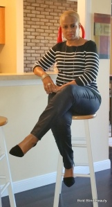 Here I am sitting on my bar stool at my counter.