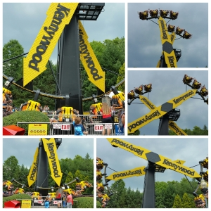 Aero 360 - Kennywood really makes good use of their logo with this ride. It's literally two Kennywood arrows that swing back and forth like a pendulum, going higer and higher until they do a complete 360 degree rotation.
