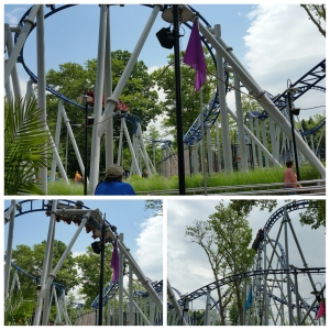 Sky Rocket coaster - the launch goes from  zero to 50 mph in under 3 seconds! Then there's a 95-foot vertical climb to plummet 90 degrees. Oh and did I mention the twists, turns and loop de loops.