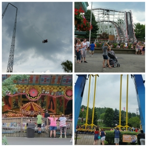 Photo collage containing 4 pictures: Sky Coaster, Thunderbolt,  Musik Express & Swing Shot