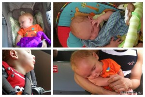 Collage of 4 pics of my grandson Orion in different sleep positions