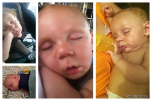 Orion in a collage of 4 additional different sleep positions