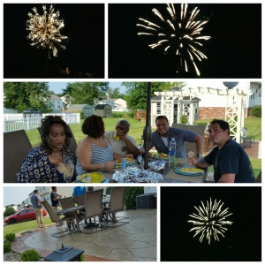 Collage of fireworks and some of the gang seated around the table on the patio.