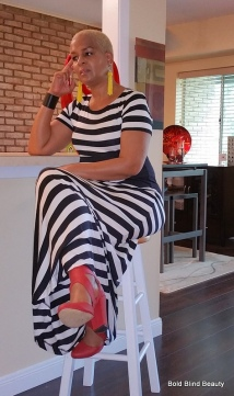 B&W Striped Maxi (old) | Macy's Red Heels| 6pm.com Yellow Earrings | H&M Black Faux Leather Turn Lock Cuff Bracelet | Ann Taylor