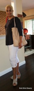 White Crop Pants & Wedges three-quarter standing view with tan tote