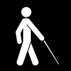 Icon of a person walking with a white cane
