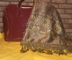 Mustard shirt, burgundy handbag and olive embellished fringed wrap