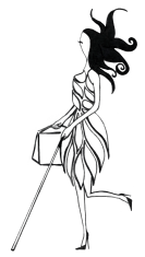 Black and white line drawing. The leaves of the dress are not solid black.