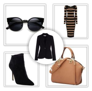 Outfit #2 - Black Blazer, Black & Camel Striped Midi Dress, Black Ankle Boots, Camel Bag & Black Sunglasses