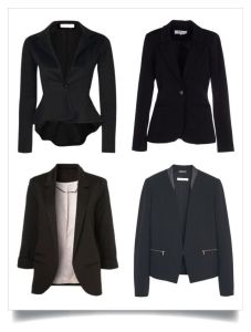 4 Black Blazers (clockwise from top) Peplum blazer, fitted single button blazer, open front blazer, cropped blazer