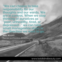Quoted text is teal against a grayscale scenic background of a roadway with mountains.