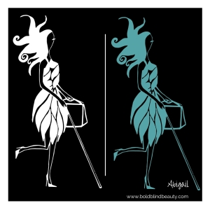 (2 images of Abigail with her white cane, heels and snazzy dress (1 teal and 1 white) both are set against a black background).