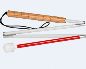 White cane with a cork handle from Ambutech