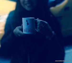 "Close up photo of the ""Hey I'm Walkin' Here!"" coffee mug in New York City"