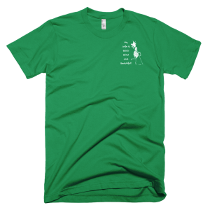 "Mens Kelly Green Tee with a miniature image of Abigail and the slogan ""My Wife is Bold Blind and Beautiful!"""