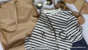 Striped Tee, Skinny Jeans, Tan Sandals/Handbag, Aviator Sunnies, Pendendent Necklace, Drop Earrings & Bracelet