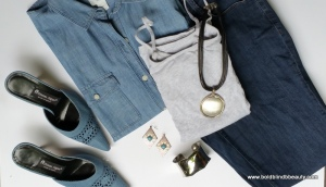 #3 - Chambray Shirt, Gray Cami and Blue Jeans