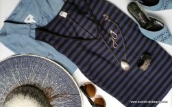 #1 - Black & Navy Striped Dress and Chambray Shirt