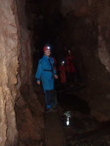 Arie Farnam in a cave