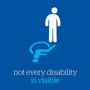 "Not every disability is visible. Image ""able bodied"" icon reflected as the international handicap wheelchair icon"