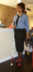 Standing pose with my white cane
