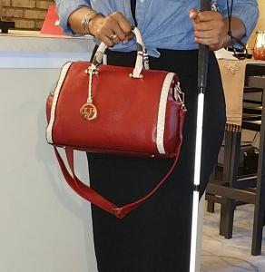 Red barrel handbag