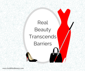 """Real Beauty Transcends Barriers"" with a sexy midi dress, black shoes, handbag and the most important accessory - the white cane."
