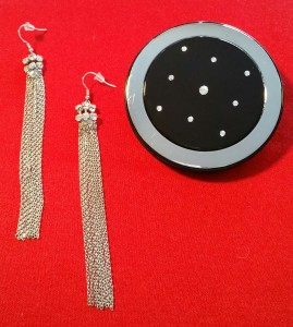 Dangling fringed & crystal earrings with the black and silver crystal embellished compact