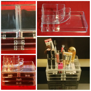 Photo grid of my organizer detailing the empty top and bottom pieces and the entire unit including my makeup