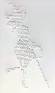 Braille image of Abigail with her white cane in her right hand and handbag in her left hand.