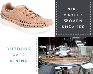 """Collage: 1) Arctic pink (nude) sneaker 2) """"Nike Mayfly Woven Sneaker"""" 3) """"Outdoor Cafe Dining"""" 4) image of a round dining table with chairs at an outdoor cafe."""