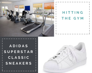 """Collage: 1) """"Hitting the Gym"""" 2) A row of treadmills and exercise bikes 3) """"Adidas Superstar Classic Sneakers;"""" 4) image of white sneaker"""