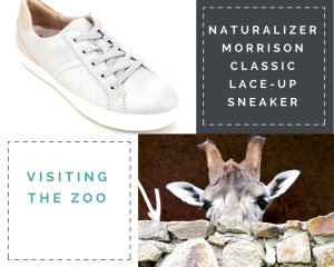 """Collage: 1) Silver/Tan Naturalizer Morrison Classic Lace-Up Sneaker. 2) """"Naturalizer Morrison Classic Lace-Up Sneaker"""" 3) """"Visiting The Zoo"""" 4) Stone wall with a giraffe peeping over it. All that can be seen is the giraffe's head from the eyes upward."""