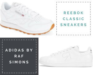 Collage: Two pair of white sneakers (Reebok Classic & Adidas by Raf Simons)